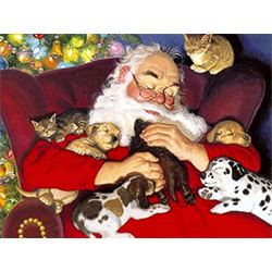 Santa and Puppies Jigsaw Design,Someones Glad Christmas Completed,
