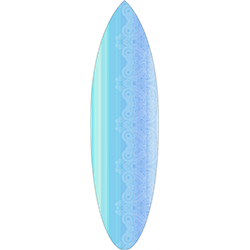 Blue Stripes White Pattern Surfboard Decal,