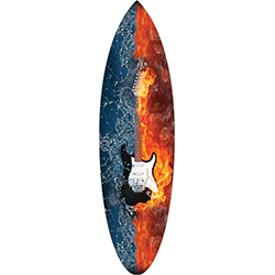 Flaming Guitar Surfboard Decal