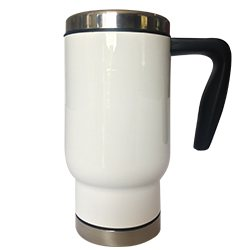 White 17oz Stainless Steel Travel Mug,