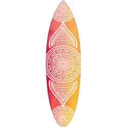 Pink Yellow Coloured White Mandala Surfboard Decal