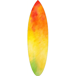Red Yellow Green Coloured Surfboard Decal