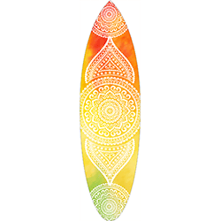 Red Yellow Green Coloured White Mandala Surfboard Decal