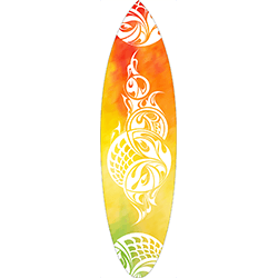 Red Yellow Green Coloured White Tattoo Surfboard Decal
