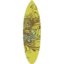Brown Blue Floral Surfboard Decal