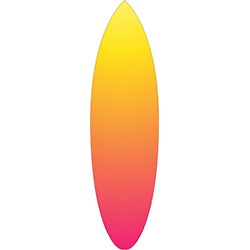 Yellow Orange Pink Coloured Surfboard Decal