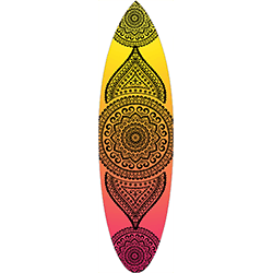 Yellow Orange Pink Coloured Black Mandala Surfboard Decal