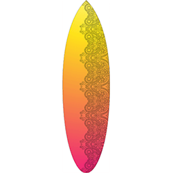 Yellow Orange Pink Coloured Black Pattern Surfboard Decal