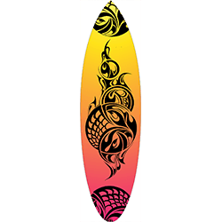 Yellow Orange Pink Coloured Black Tattoo Surfboard Decal