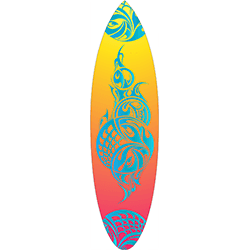 Yellow Orange Pink Coloured Blue Tattoo Surfboard Decal