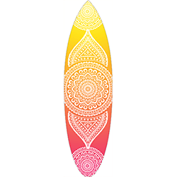 Yellow Orange Pink Coloured White Mandala Surfboard Decal