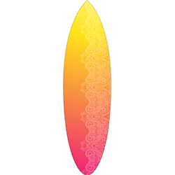 Yellow Orange Pink Coloured White Pattern Surfboard Decal