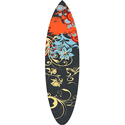 Yellow Blue Floral Motif Surfboard Decal
